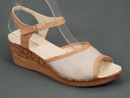 Sandale dama piele bej talpa ortopedica 6 cm Anne