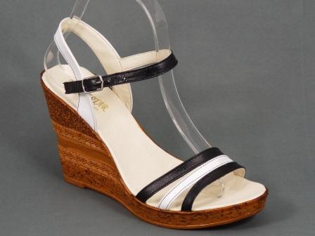 Sandale dama piele albe cu negru talpa ortopedica 9,5 cm Nechy