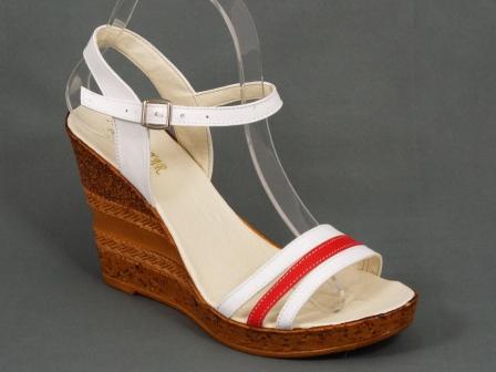Sandale dama piele albe cu portocaliu talpa ortopedica 9,5 cm Nechy