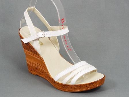 Sandale dama piele albe talpa ortopedica 9,5 cm Nechy