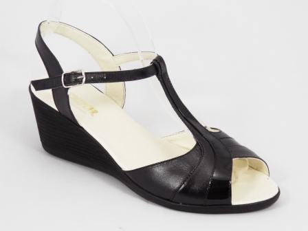 Sandale dama piele negre talpa ortopedica 6 cm Nyko