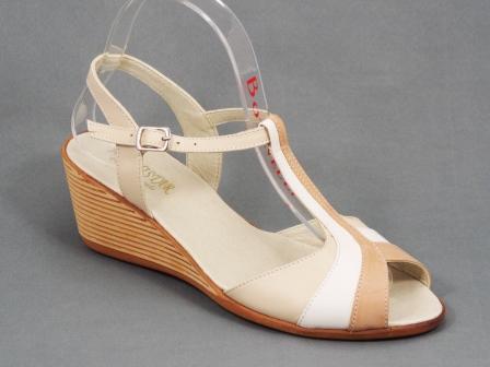 Sandale dama piele bej talpa ortopedica 6 cm Nechy