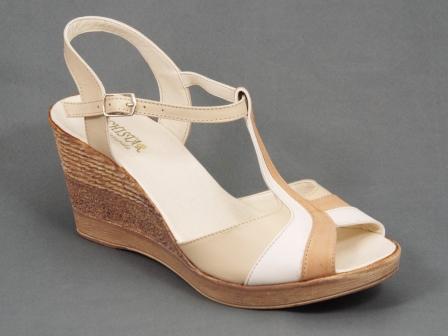 Sandale dama piele bej talpa ortopedica 8 cm Nechy