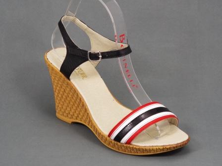Sandale dama piele negre cu alb si rosu talpa ortopedica 9 cm Nechy