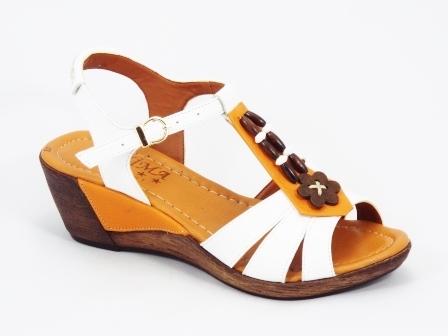 Sandale dama piele albe talpa ortopedica 6 cm Neky