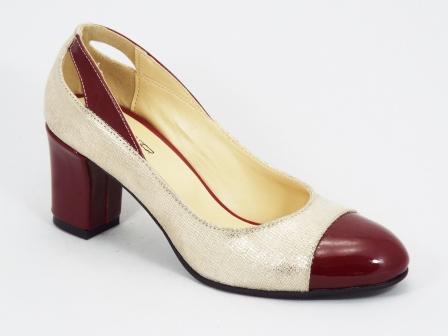Pantofi dama piele bordo cu auriu toc 6,5 cm Lallyk