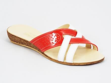 Papuci dama piele portocalii talpa ortopedica Kenna