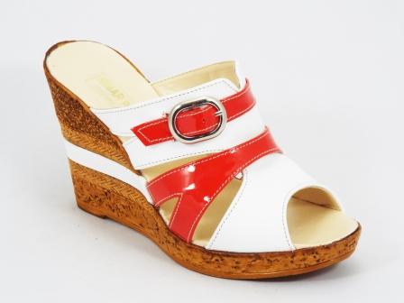 Papuci dama piele portocalii talpa ortopedica 10 cm Kennra