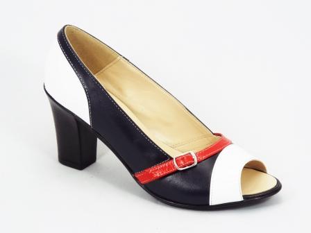 Pantofi dama piele negri cu alb si rosu toc 7,5 cm Lallok