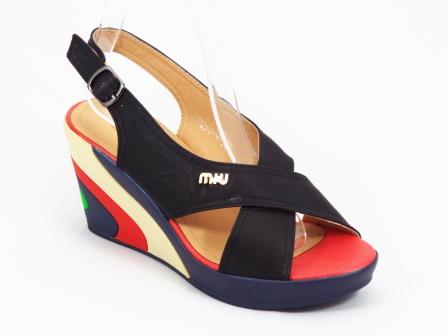 Sandale dama negre, ortopedice, pastelate