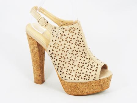 Sandale dama bej din pluta toc 14 cm Danne