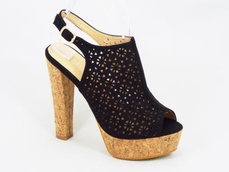 Sandale dama negre din pluta toc 14 cm Danne