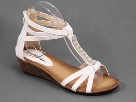 Sandale dama albe toc 2 cm Darya