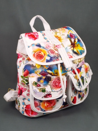 Geanta dama alb cu rosu model floral Ginna