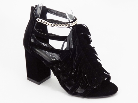 Sandale dama negre toc patrat 8 cm Gigyo