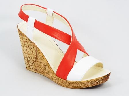 Sandale dama piele rosu cu alb ortopedice toc 10 cm Fynna