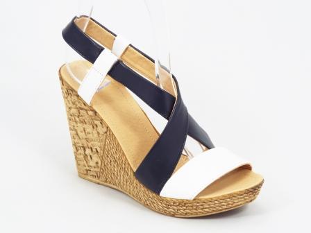Sandale dama piele negru cu alb ortopedice toc 10 cm Fynna