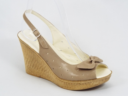 Sandale dama piele bej ortopedice toc 9 cm Gyonna