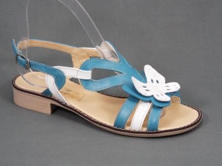 Sandale dama turcoaz cu alb, piele naturala si accesoriu model floare