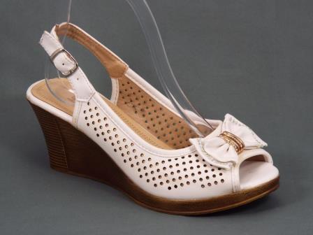 Sandale dama albe toc 7,5 cm ortopedice Sannya