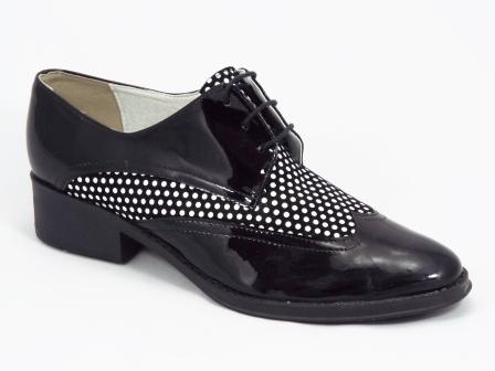 Pantofi dama piele negri lac Flores