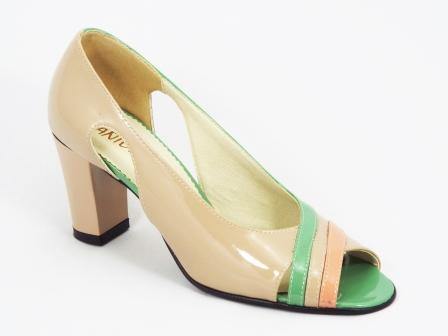 Sandale dama piele lac bej cu verde toc 7 cm Mozzy