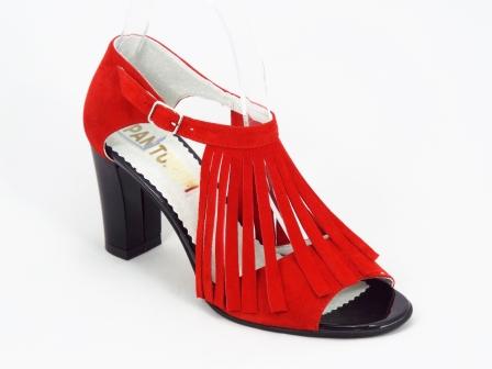 Sandale dama piele intoarsa rosii toc 7,5 cm Elly