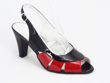 Sandale dama piele rosu cu negru toc 7,5 cm Genna
