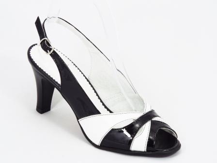 Sandale dama piele negre cu alb toc 8,5 cm Wella