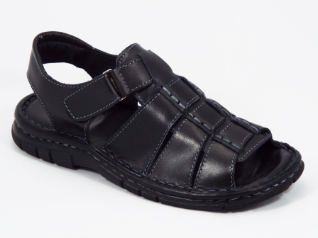 Sandale barbati piele negre Tudor