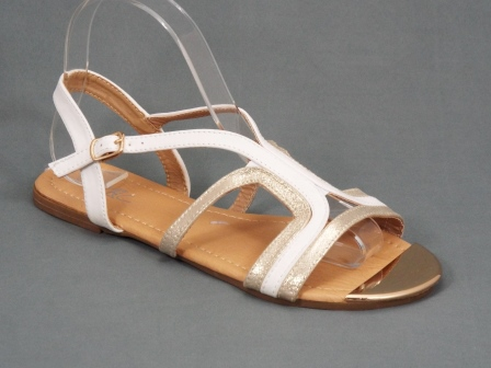 Sandale dama aurii cu alb Togya