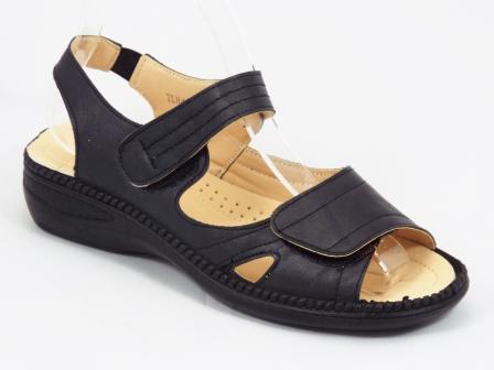 Sandale dama negre ortopedice toc 4 cm Derya