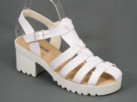 Sandale dama albe toc 6 cm Ferga