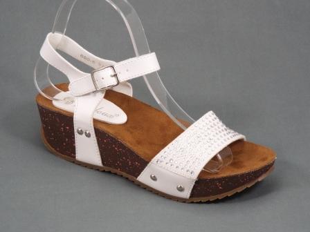 Sandale dama albe toc 4,5 cm Doreea