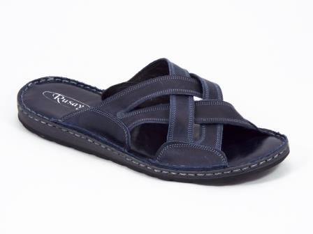 Papuci barbati piele albastri Tores