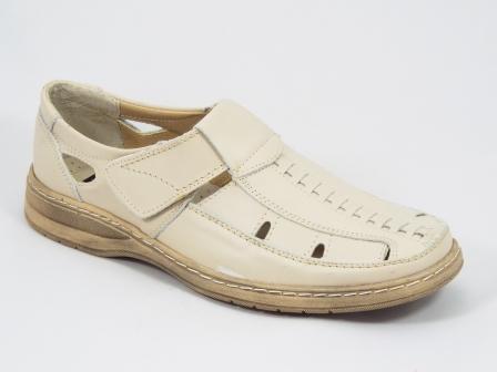 Sandale barbati piele bej Greko