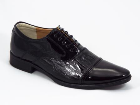 Pantofi barbati piele negri lac Kolleus
