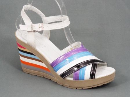 Sandale dama piele gri multicolore ortopedice toc 9 cm Gretta