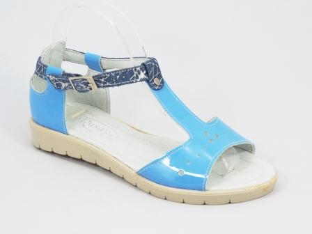 Sandale dama piele lac albastre-turcoaz Troya