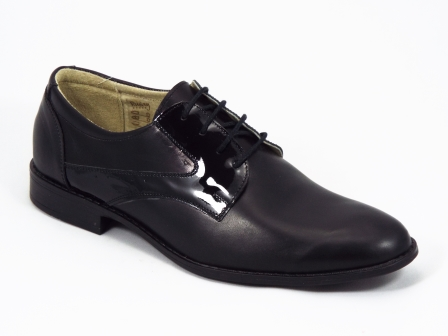 Pantofi barbati piele negri lac Deryn