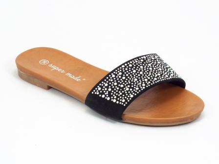 Papuci dama negri strasuri Coryne
