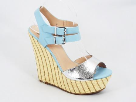 Sandale dama albastre ortopedice platforma toc 14 cm Darclee