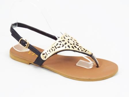 Sandale dama negre cu auriu Tosca