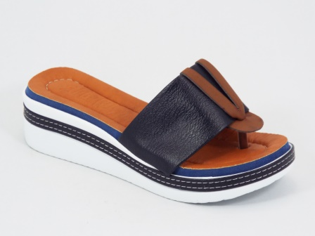 Papuci dama albastri ortopedici toc 5 cm Ebba