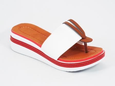 Papuci dama albi ortopedici toc 5 cm Ebba