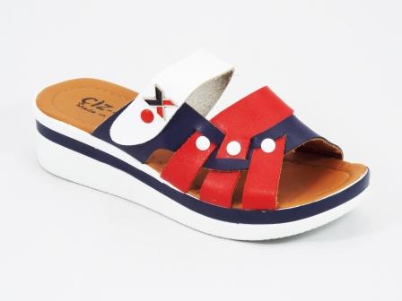 Papuci dama rosii cu alb si albastru ortopedici toc 4 cm Etta