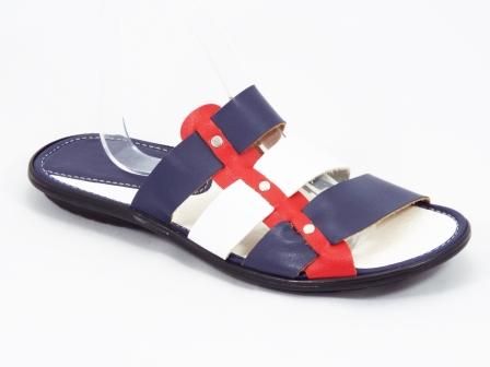 Papuci barbati albastri cu rosu si alb Keo