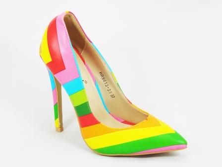 Pantofi dama roz stiletto toc 12 cm Tyna