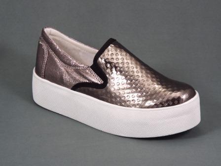 Pantofi dama argintii talpa 4 cm Natasa