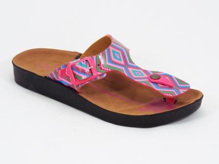 Papuci dama roz cu verde Brynna